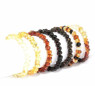 Baltic Amber Genuine Adult Stretch Baroque Choose Color Beads Bracelet