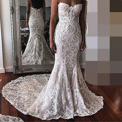 Strapless Lace Long Trumpet Bridal Gown Ivory Custom Wedding Dress 4 6 8 10 12++