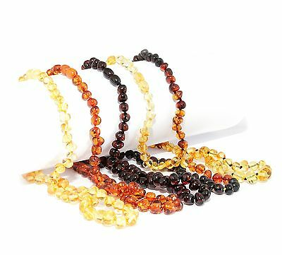 """Genuine Baltic Amber Necklace for Adult 45 cm /17.7"""" Baroque Beads Choose Color"""