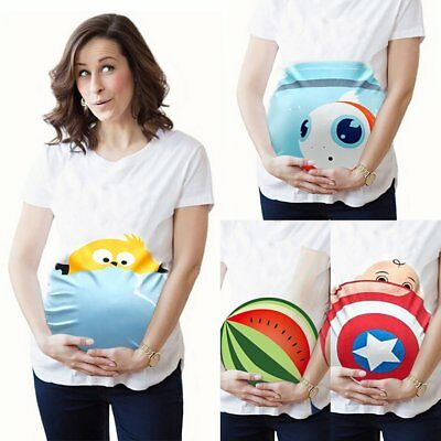 Cartoon Print Womens Maternity Pregnant Funny T-shirt Casual Short Sleeve Tops