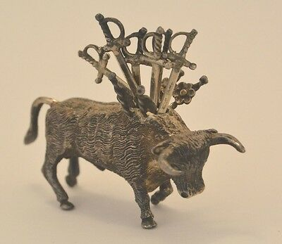 Sterling Silver Figure Of A Bull With Six Matador Swords For Serving Hors D'Oeuv