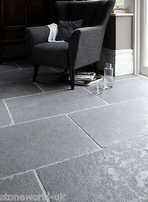 Sample of Tumbled Cathedral Ash Grey Limestone Floor Tiles Slabs Aged Flagstones