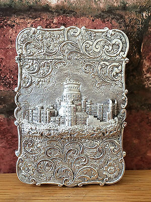 Extremely Rare Antique Silver 1844 Nathaniel Mills Windsor Castle Top Card Case