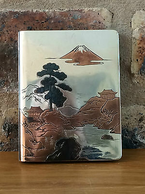 Superb Japanese Art Deco Silver 950 Stamped Multi Coloured Card Case Mount Fuji