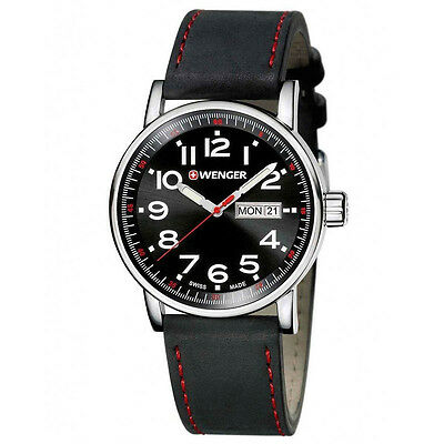 Wenger Mens Attitude Black Leather Strap Watch 01-0341-103 Day Date