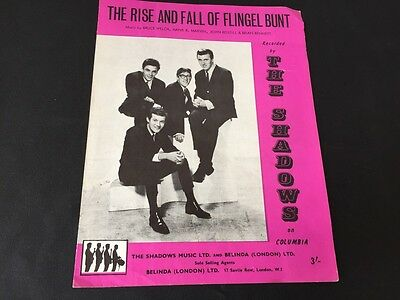 The Rise And Fall Of Flingel Bunt By The Shadows 1964 Sheet Music Good Condition