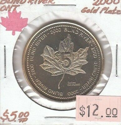 Blind River Ontario Canada - Trade Dollar - 2000 Gold Plated