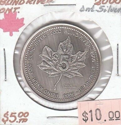 Blind River Ontario Canada - Trade Dollar - 2000 Antique Silver Plated