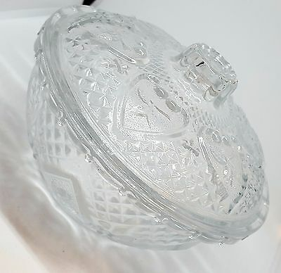 Crystal Effect Glass Floral Serving Bowl With Lid Candy Dish, Sugar Bowl 13cm