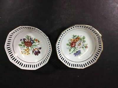 Beautiful Pair Of Antique Schwarzenhammer Pierced German Decorative Dishes