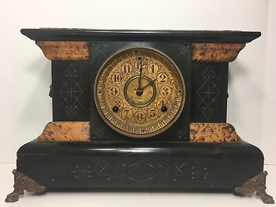 Seth Thomas Adamantine Mantle Clock, Great Case Condition. Lion Heads. Non Run