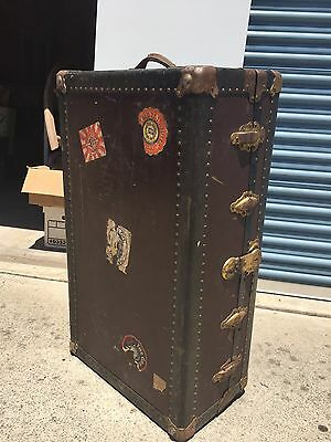 Vintage Wood Steamer Trunk With Pinstripe Lining