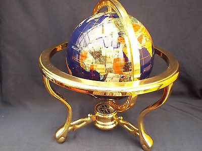 Semi Precious Stone World Globe Solid Brass Base With Compass