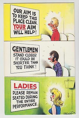 POSTCARD - saucy seaside comic, toilet humour, ladies & gentlemen Bamforth #1075