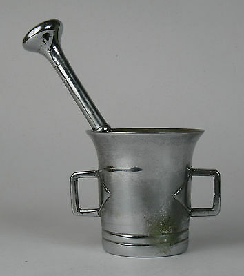 Fine chrome steel square handled mortar and pestle. 0.65kg Chemist Apothecary