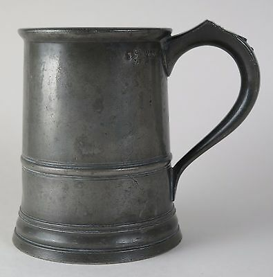 Early Victorian Pewter Quart ale tankard c1840. Breweriana