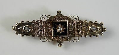 Victorian 15ct gold, enamel, diamond and seed pearl bar brooch Chester 1895