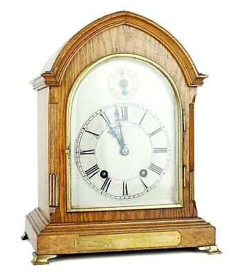 -W&h Winterhalder Hofmeier- Antique Oak Ting Tang Striking Bracket Mantel Clock