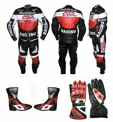 CBR Motor Bike Leather Suit,MotorCycles Riding Leather Suit+Boots+Gloves,
