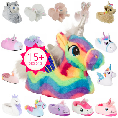 New Girls / Infant UNICORN Fluffy Novelty 3D Character Plush Slip On Slippers
