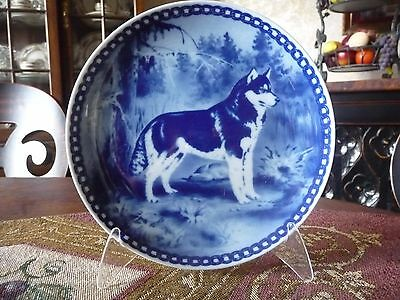 "Beautiful Vintage Danish Original Hundeplatte 7 3/4"" Plate Siberian Husky"