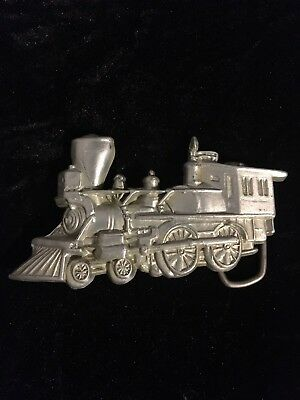 VTG 1970s Pewter Steam Locomotive Train Engine Railroad Belt Buckle