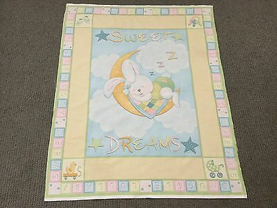 Rabbit Fabric Panel Unisex Baby Nursery Cot Panel Quilt Fabric Bunny Moon Stars