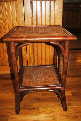 Bombay & Co Rattan Woven Wood Two Tier End Side Occasional Table