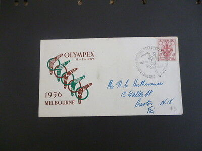 Australia 1956  fdc Olympex 12th - 24 th Nov Melbourne boomarangs