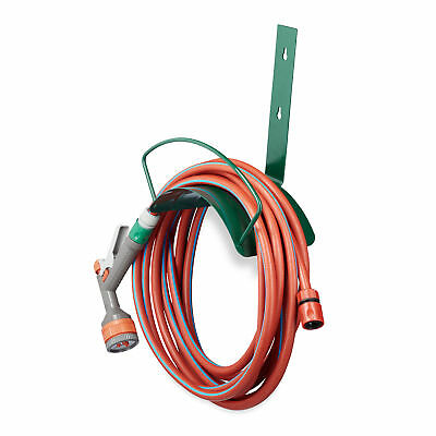 Wall Hose Holder for 60 cm Garden Hoses of 5/8 Inches, Metal, Green, Hose Hook