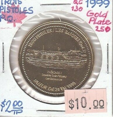 Trois-Pistoles Quebec Canada - Trade Dollar - 1997 Gold Plated ii