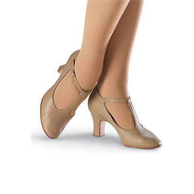 So Danca CH40 Women's 6M (fits adult 5.5) Tan T-Strap Buckle Character Shoes