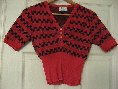 VINTAGE BOBBI ANN JUNIORS SHORT SLEEVE SWEATER EARLY 1970's, GREAT CONDITION
