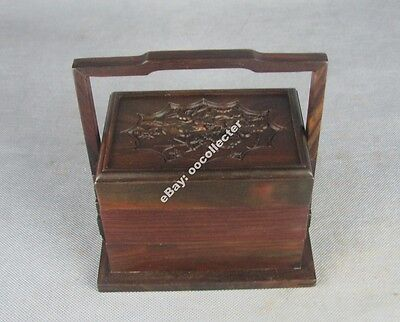 """red rosewood Chinese hard wood box New China flower 2 floor handle lunchbox 6"""""""