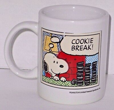 Snoopy Peanuts Cup Cookie Break Milk Tea Coffee Collectors Ceramic Mug