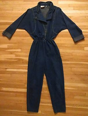 Vintage 70s Cherokee Womens Denim Jumpsuit One Piece Mechanic Coveralls Size 3/4
