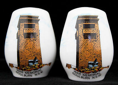Vintage Australiana Souvenir Salt Pepper Shaker Set Goulburn War Memorial Retro