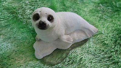 Stone Critters~White Harp Seal Pup Figurine~Ice~Gift~Sweet~Greenland~Realistic