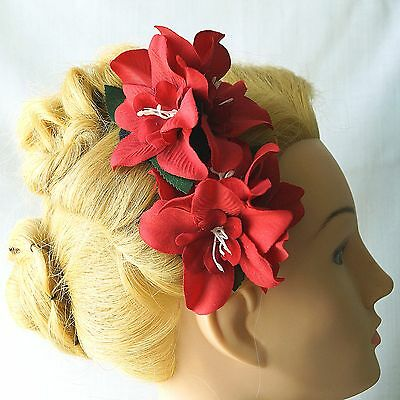 Pair of Red Orchid Flower Hairclip Orchid Bridesmaid Wedding Retro Pinup Vintage