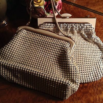 Two Large Vintage Oroton White Mesh Metal Hand Bags Purse Glomesh Style