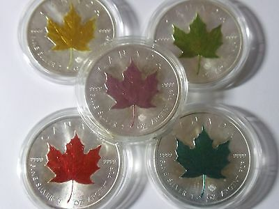 Lot Of 5 Coins (2015) Canadian Maple Leaf  Colorized Coins .999 Pure Silver (BU)