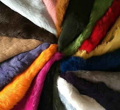 High Quality Dyed Rabbit Skin Pelt Real Fur - 20 Colours Available