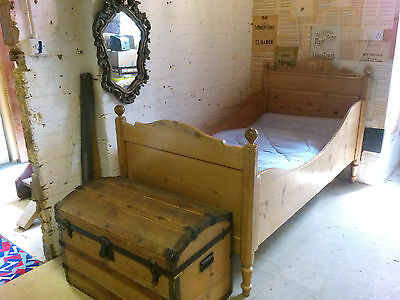 Victorian pine single French bed and Habitat mattress