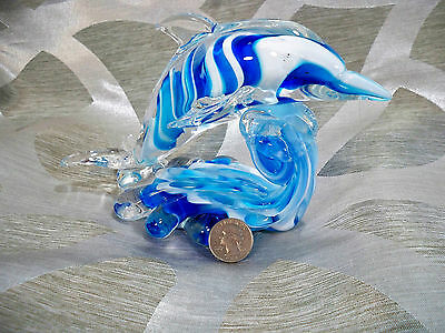 Glass Dolphin Hand Blown Larger Sized