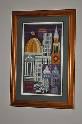 Completed Cross Stitch 'London Buildings' Framed & Glazed Contemporary Abstract