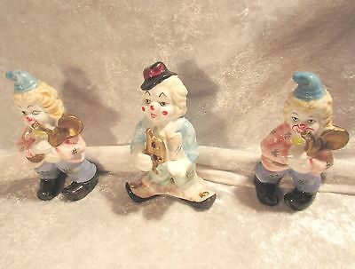 Vintage Lot of 3 Colorful Ceramic Bisque Clown Musicians, Made in Japan
