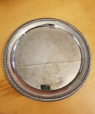 "Vintage Silver Plated Hong Kong 12"" Serving Plate Etched W/ Ribbed Trim KMJZ"