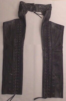Harley Davidson Genuine Leather Motorcycle Chaps Corset Style Laces Women's Med