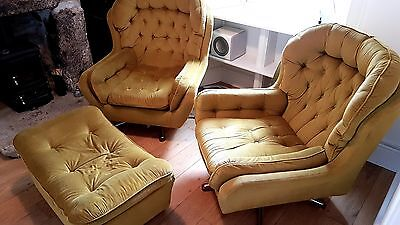 Vintage Retro Gold Mustard Yellow Dralon Velour Swivel Armchairs Parker Knoll