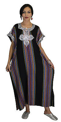 Moroccan Kaftan Caftan Beach Cover Up Summer Dress Casual Linen Sm-Lg Black